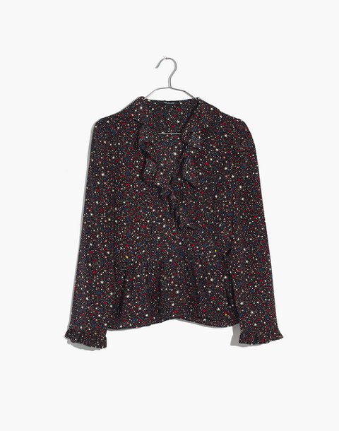 Silk Ruffle-Hem Wrap Top in Starry Night in starry dark mediterranean image 4