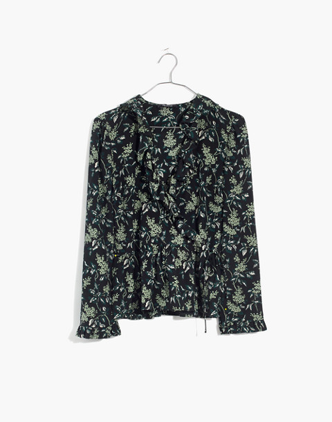 Silk Ruffle-Hem Wrap Top in Antique Flora in october classic black image 4