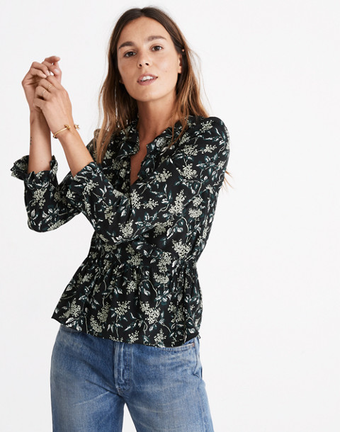 Silk Ruffle-Hem Wrap Top in Antique Flora in october classic black image 1