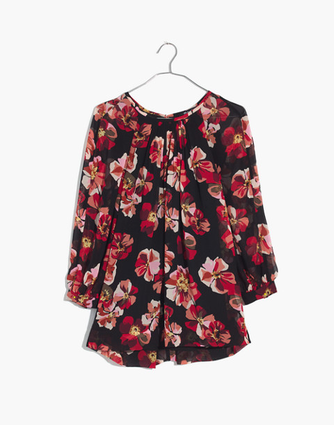 Tie-Back Bubble-Sleeve Top in French Rose in rose classic black image 4