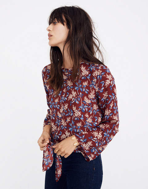 Bell-Sleeve Tie Top in Antique Flora in october dusty burgundy image 2
