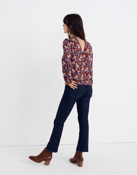 Bell-Sleeve Tie Top in Antique Flora in october dusty burgundy image 3