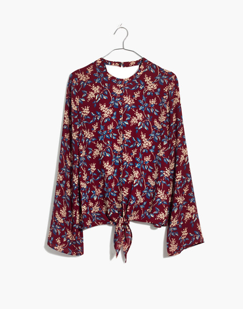 Bell-Sleeve Tie Top in Antique Flora in october dusty burgundy image 4