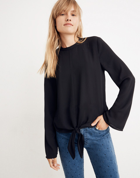 Bell-Sleeve Tie Top in true black image 2