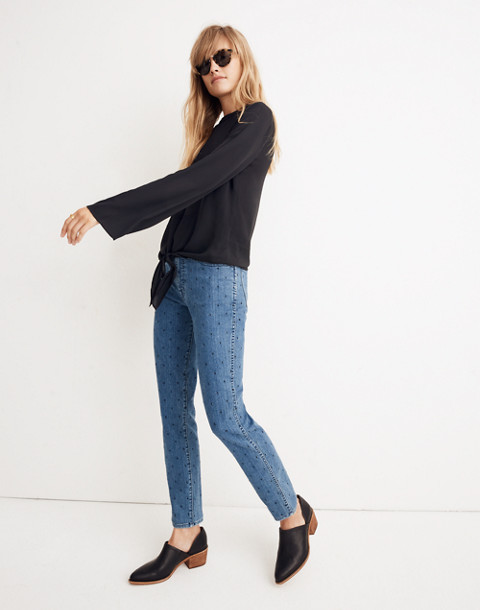 Bell-Sleeve Tie Top in true black image 3