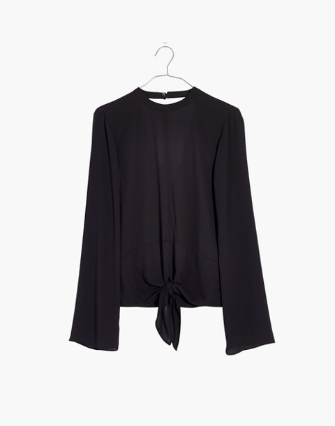 Bell-Sleeve Tie Top in true black image 4