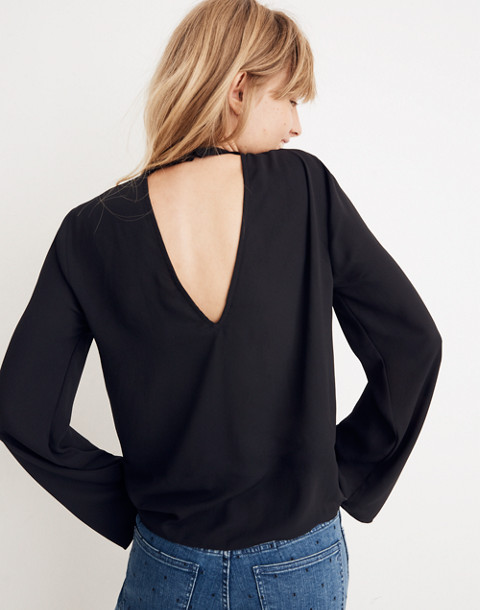 Bell-Sleeve Tie Top in true black image 1