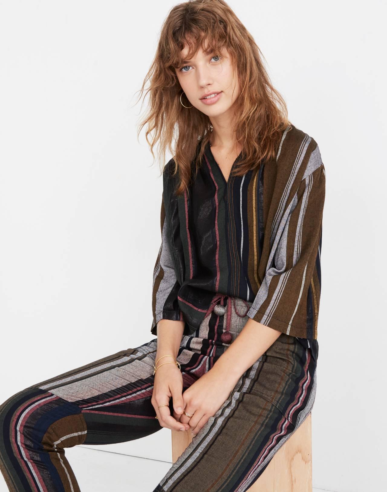 Apiece Apart™ Striped Agata Shirred Top in zaanse lurex stripe image 2