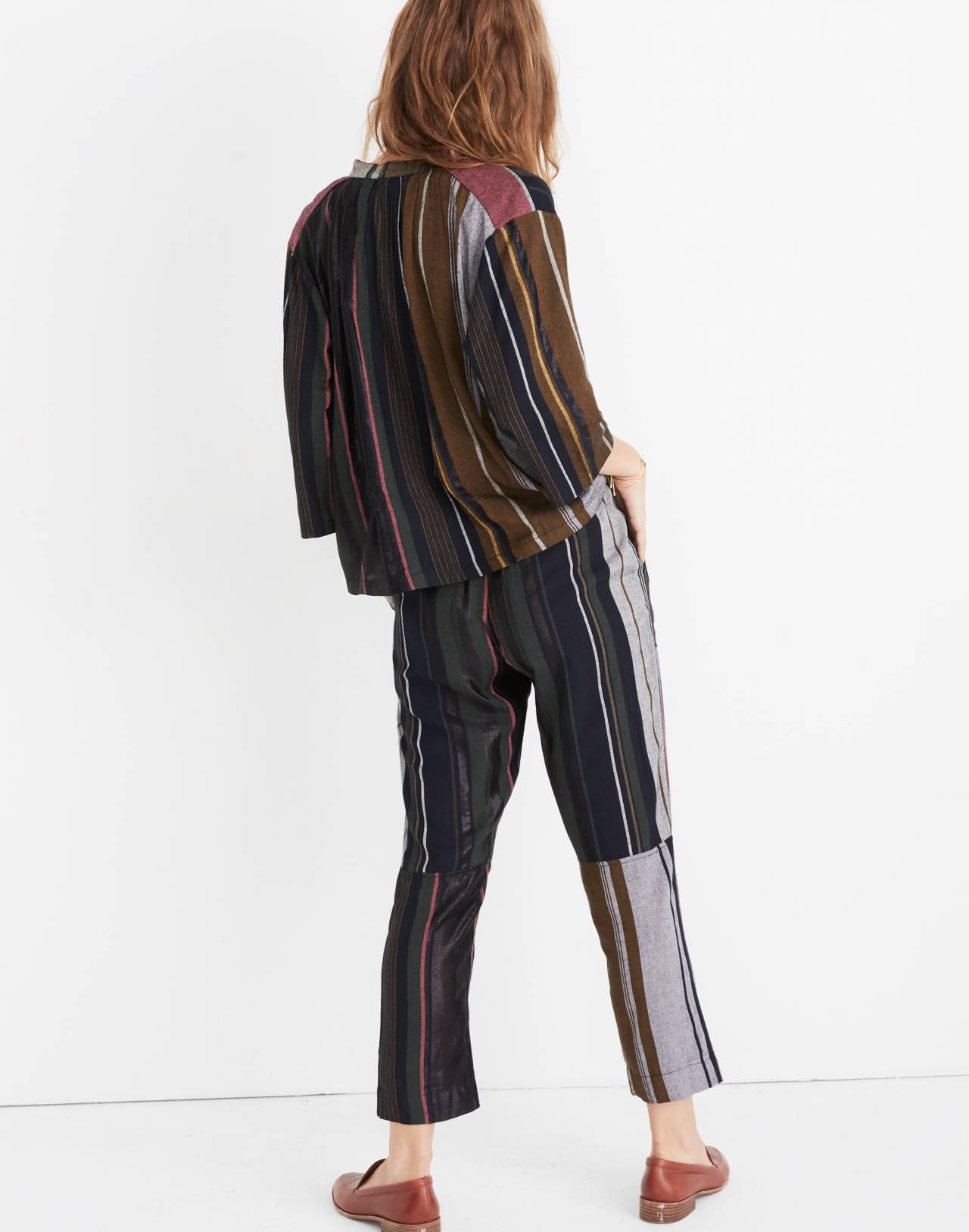 Apiece Apart™ Striped Agata Shirred Top in zaanse lurex stripe image 3