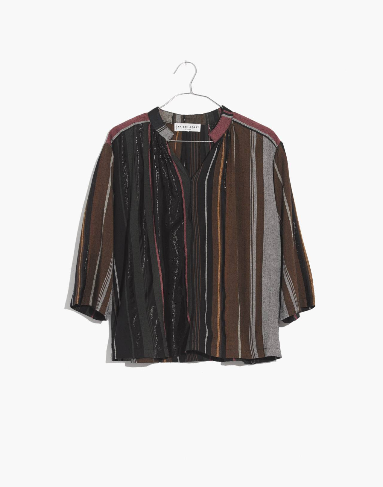 Apiece Apart™ Striped Agata Shirred Top in zaanse lurex stripe image 4