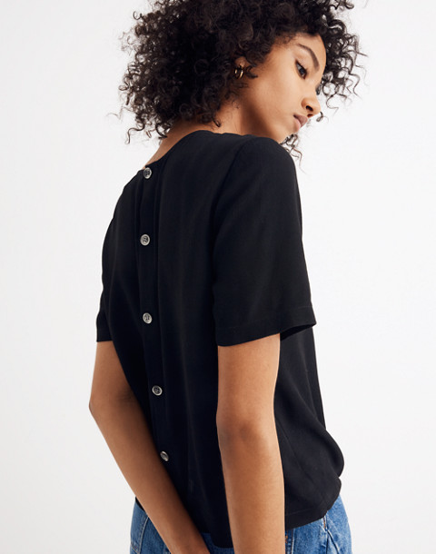 Button-Back Tie Tee in true black image 3