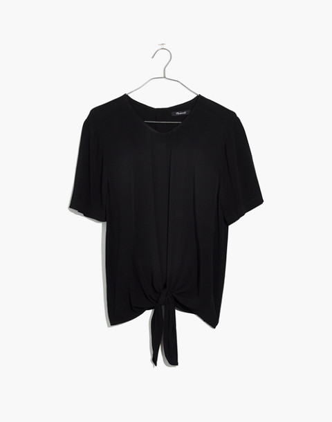 Button-Back Tie Tee in true black image 4