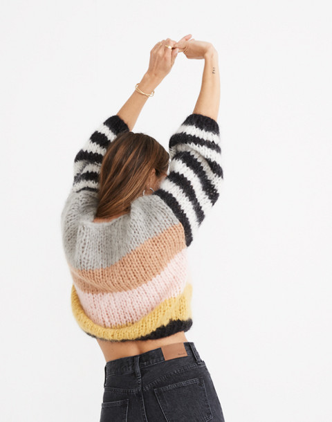 Madewell x Maiami Striped Big Sweater in pink lime image 2