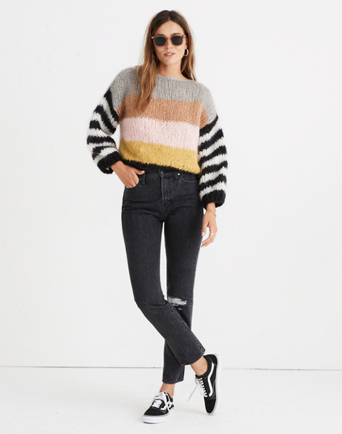 Madewell x Maiami Striped Big Sweater in pink lime image 3