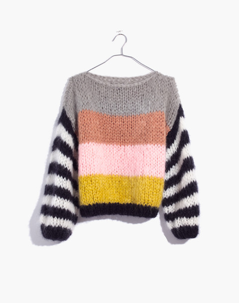 Madewell x Maiami Striped Big Sweater in pink lime image 4