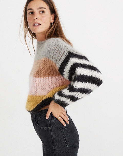 Madewell x Maiami Striped Big Sweater in pink lime image 1