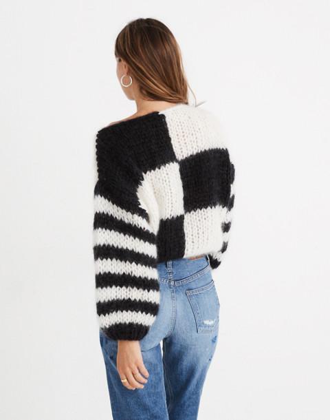 Madewell x Maiami Checker Big Sweater in black creme image 2