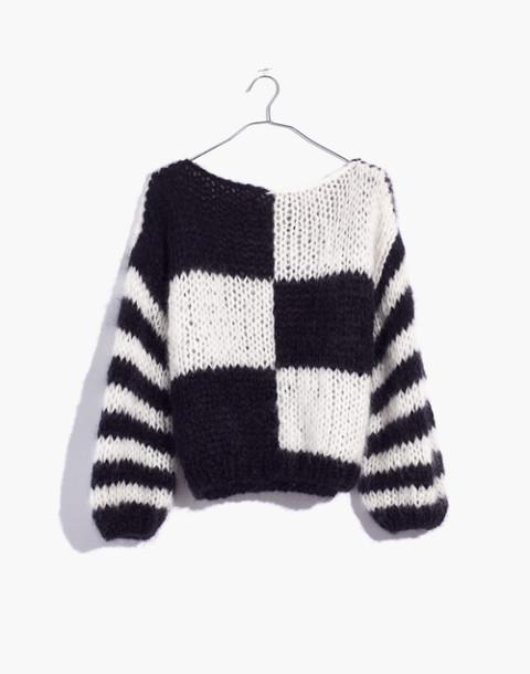 Madewell x Maiami Checker Big Sweater in black creme image 4