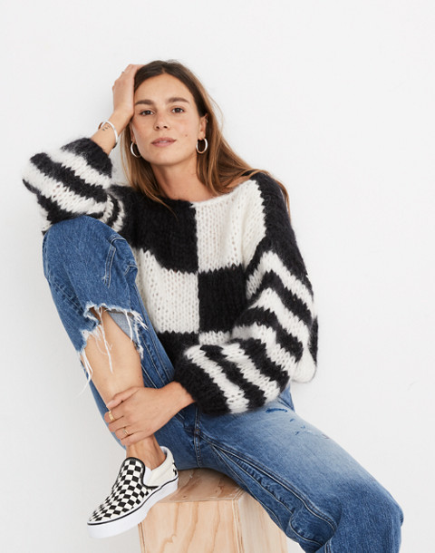 Madewell x Maiami Checker Big Sweater in black creme image 1