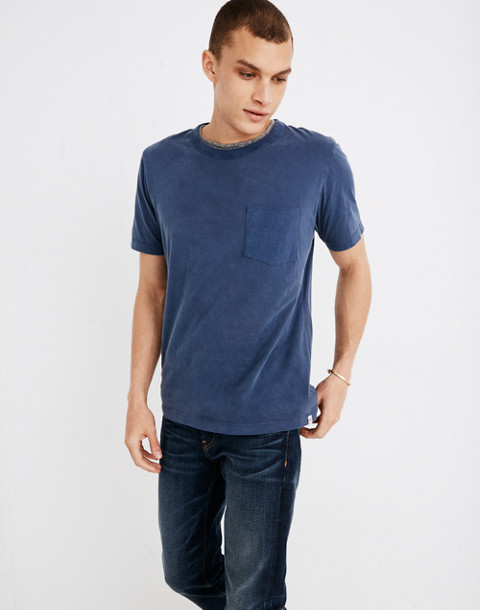 Garment-Dyed Daily Crewneck Pocket Tee in blue night image 2