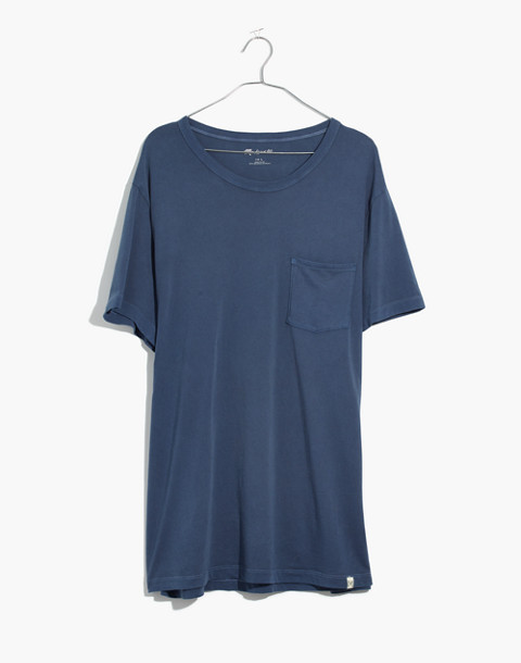 Garment-Dyed Daily Crewneck Pocket Tee in blue night image 4