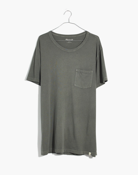 Garment-Dyed Daily Crewneck Pocket Tee in dark olive image 4