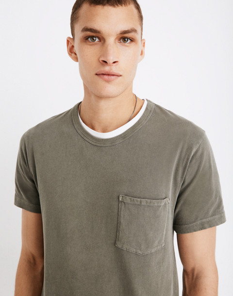 Garment-Dyed Daily Crewneck Pocket Tee in dark olive image 1