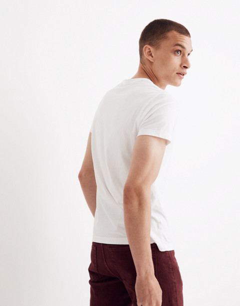 Garment-Dyed Daily Crewneck Pocket Tee in white wash image 2