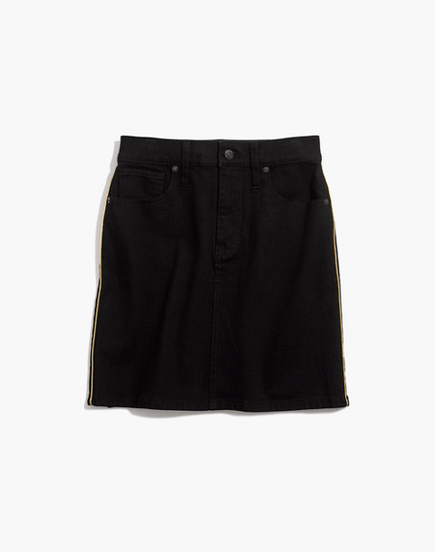 Stretch Denim Straight Mini Skirt: Gold Piping Edition in leesville wash image 4