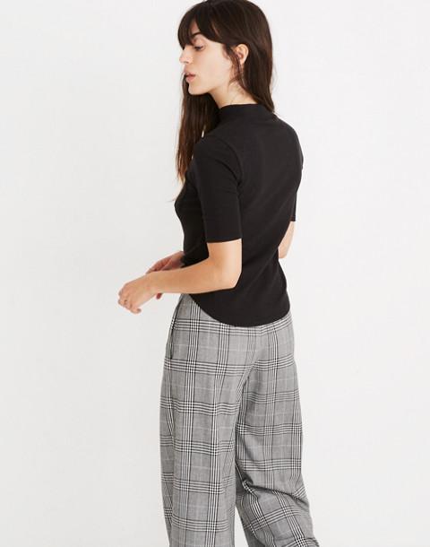 Mockneck Shirttail Tee in true black image 3