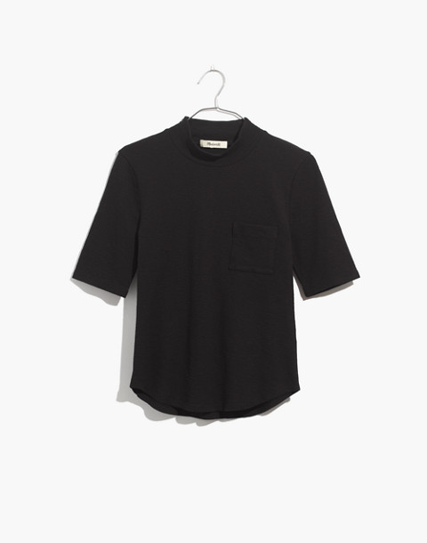 Mockneck Shirttail Tee in true black image 4