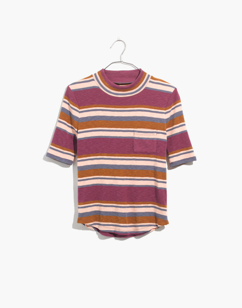 Mockneck Shirttail Tee in Stripe in champagne image 4