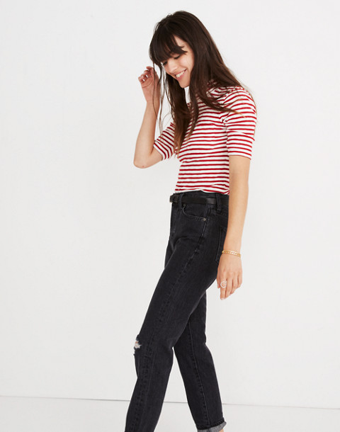 Mockneck Shirttail Tee in Solecito Stripe in white wash image 2