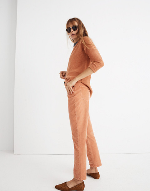 The High-Rise Slim Boyjean: Corduroy Edition in dried coral image 1