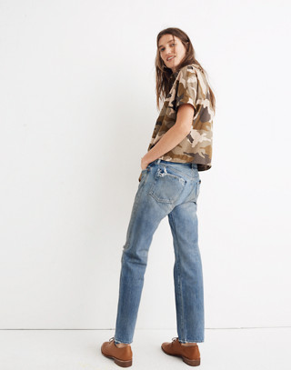 Chimala® Selvedge Narrow Tapered Cut Jeans in light distressed image 3