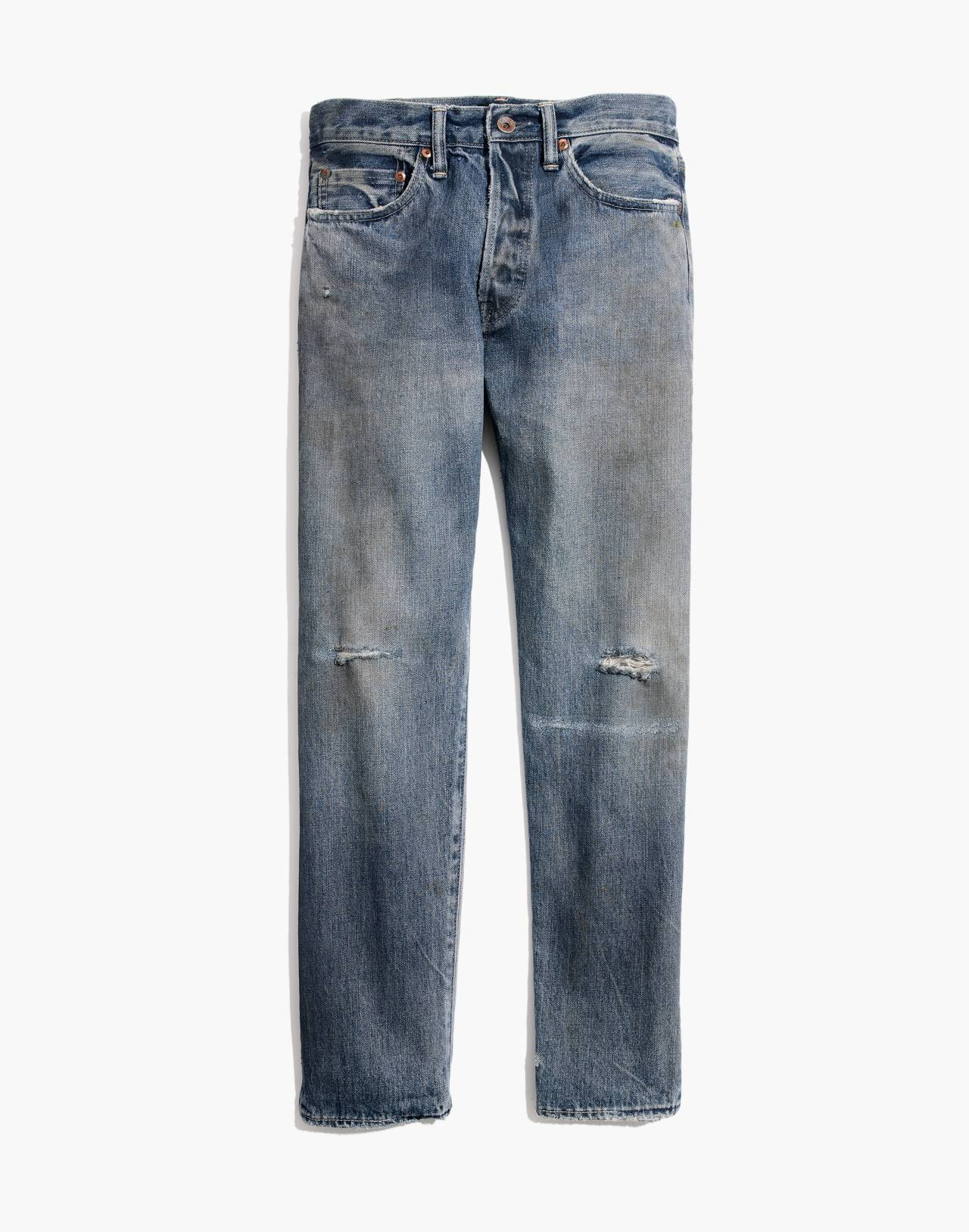 Chimala® Selvedge Narrow Tapered Cut Jeans in light distressed image 4