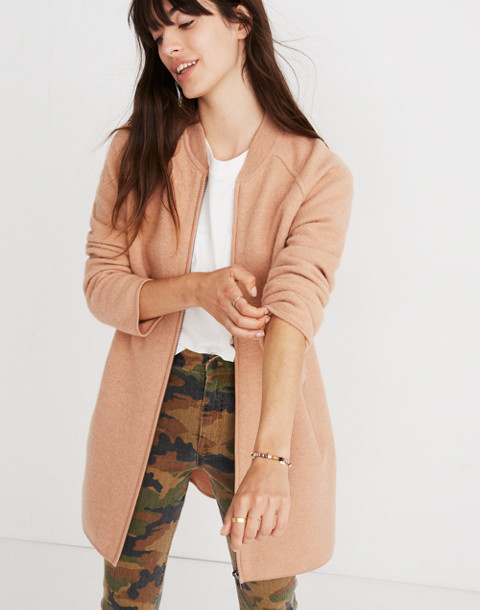 Bomber Sweater-Jacket in bright apricot image 3