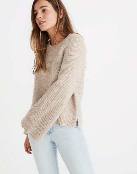 Flecked Wide-Sleeve Pullover Sweater in donegal funfetti image 2