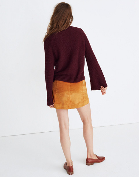 Wide-Sleeve Pullover Sweater in hthr maroon image 2