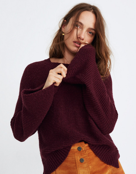 Wide-Sleeve Pullover Sweater in hthr maroon image 3