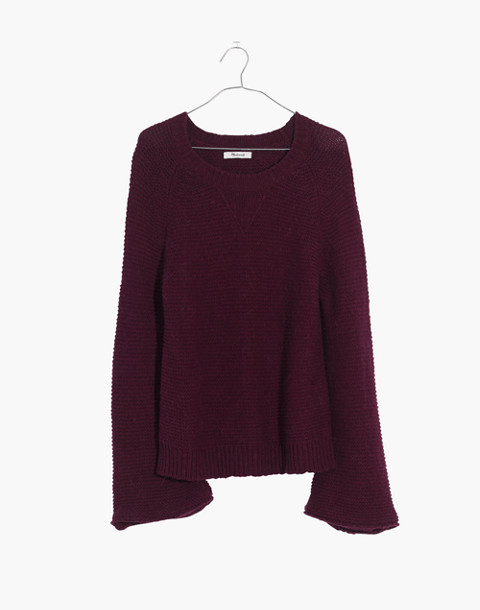 Wide-Sleeve Pullover Sweater in hthr maroon image 4