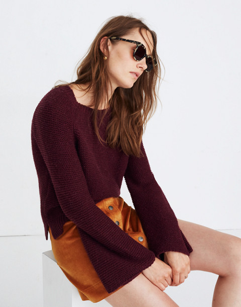 Wide-Sleeve Pullover Sweater in hthr maroon image 1