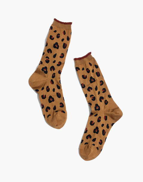 Madewell x Hansel from Basel™ Leopard Anklet Socks in brown image 1