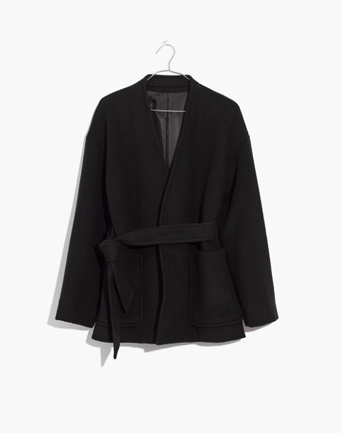 Belted Wrap Coat in true black image 1