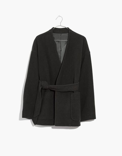 Belted Wrap Coat in dark camouflage image 1