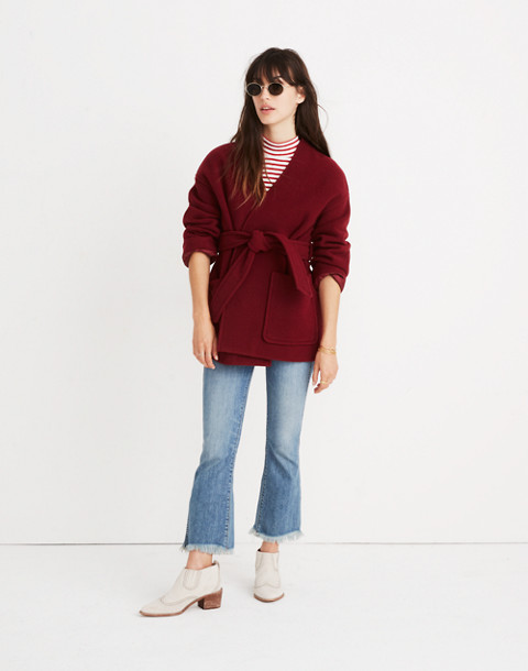 Belted Wrap Coat in dusty burgundy image 2