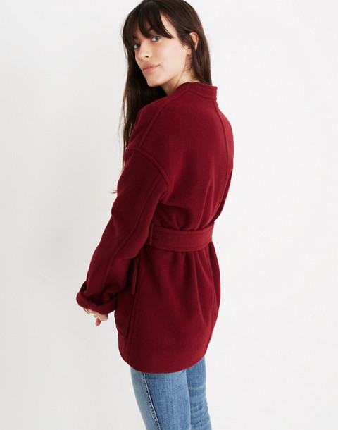 Belted Wrap Coat in dusty burgundy image 3