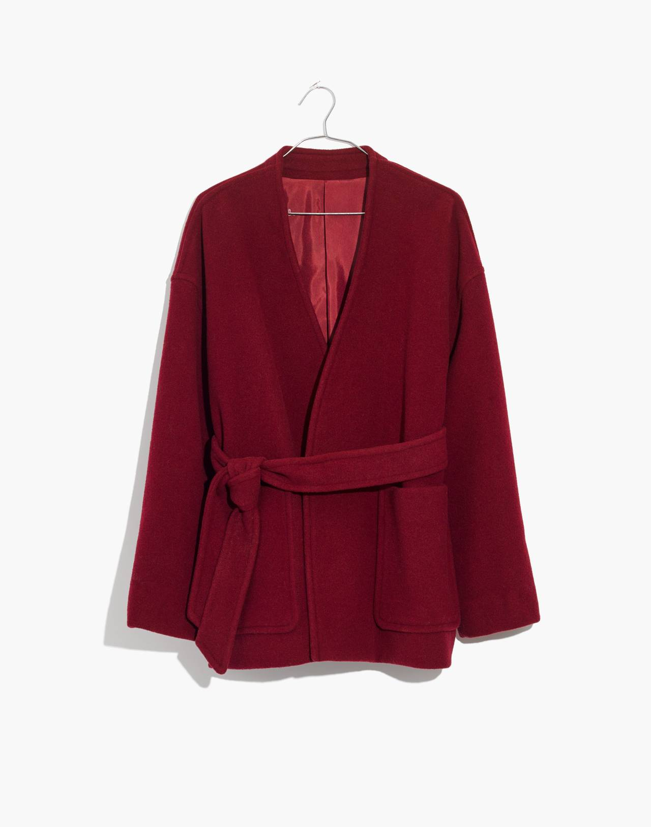 Belted Wrap Coat in dusty burgundy image 4
