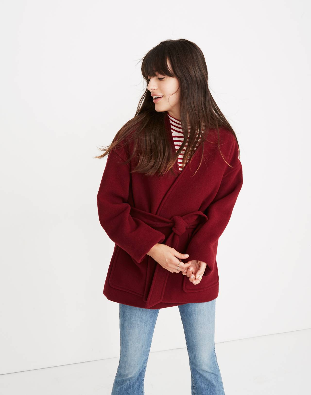 Belted Wrap Coat in dusty burgundy image 1