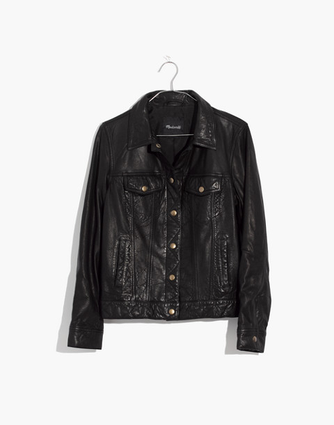 Washed Leather Trucker Jacket in true black image 4